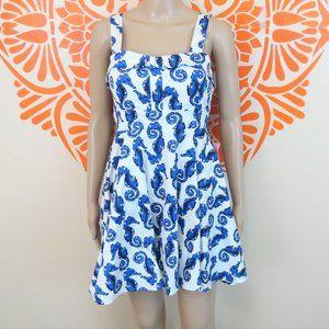 Adorable Retro White Seahorse Dress S